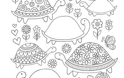 Free Turtle Love Coloring Page