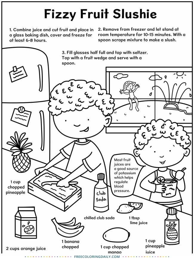 Free Kids Slushie Coloring Recipe