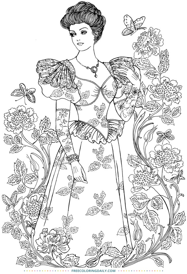 Free Coloring Page of Retro Fashion