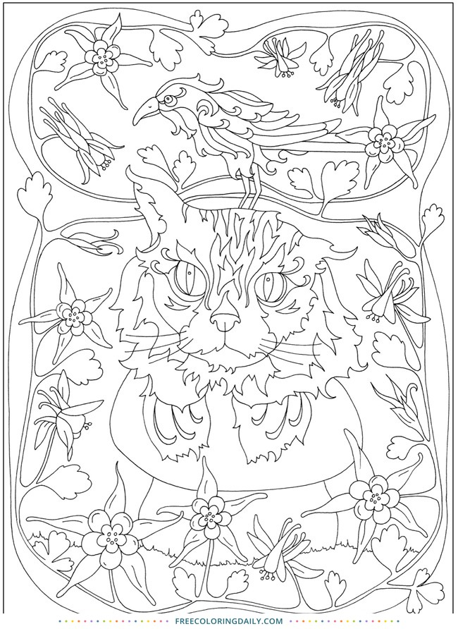Cats and Birds Free Coloring