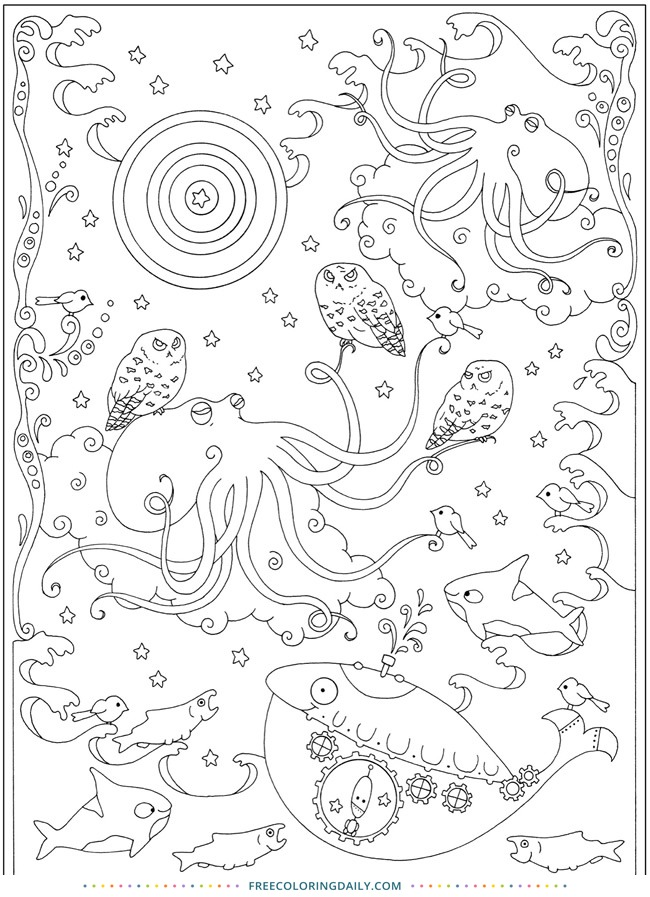 Under the Sea Free Coloring Sheet