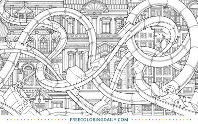 Free Roller Coaster Coloring