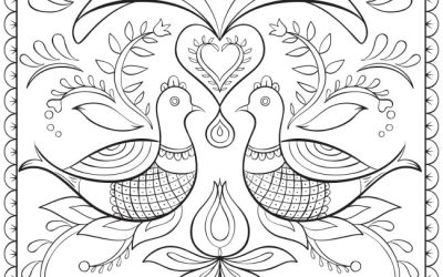 Folk Art Free Coloring Page