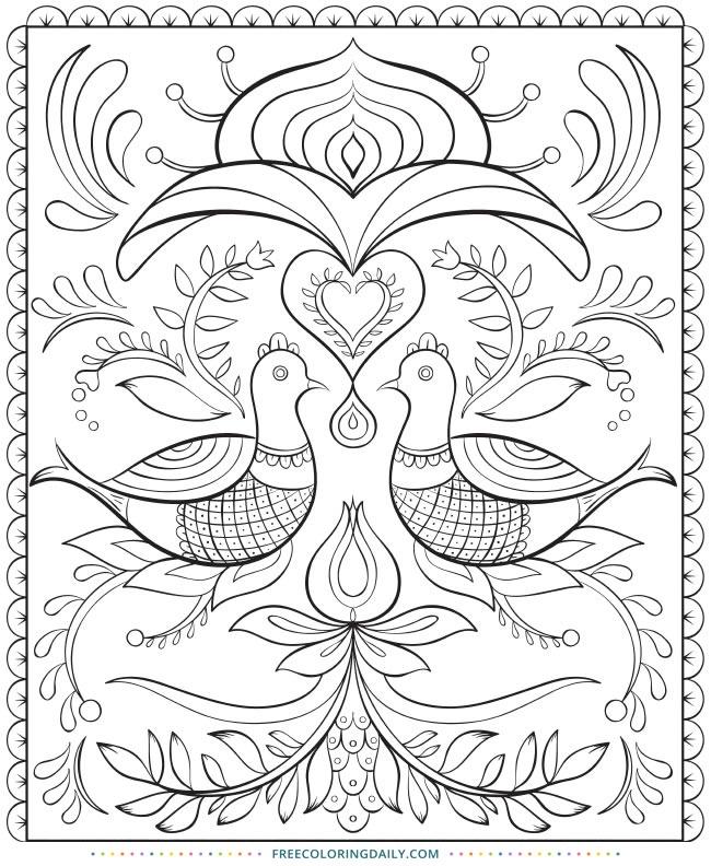 Folk Art Free Printable Coloring Page