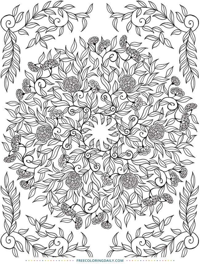 Free Gorgeous Floral Vine Coloring