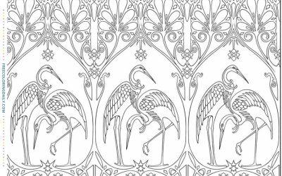 Free Coloring Art Deco Birds