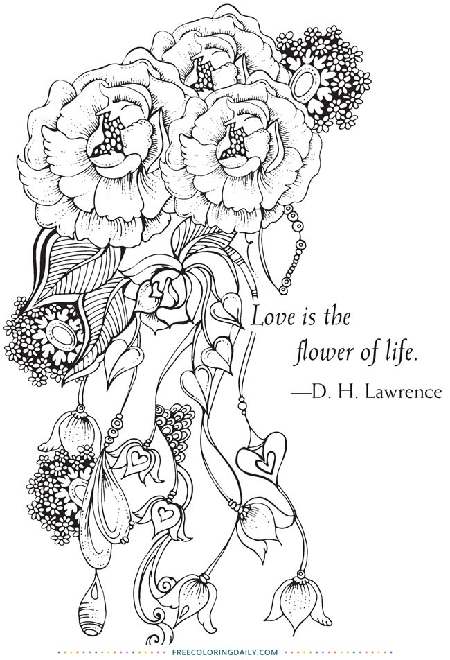 Free D.H. Lawrence Floral Coloring