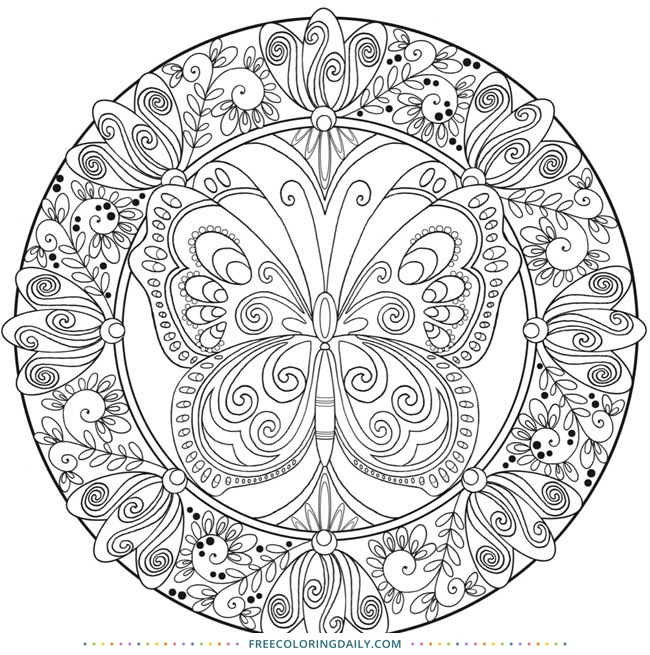 Butterfly Mandala Free Coloring Page Free Coloring Daily