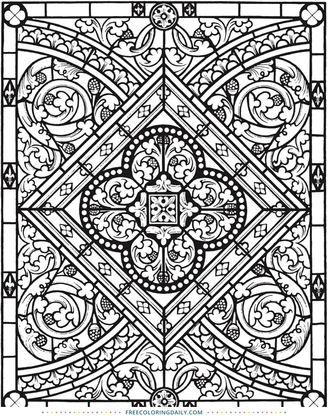 Free Stained Glass Coloring