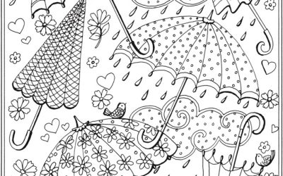 Umbrellas & Raindrops Free Coloring Sheet