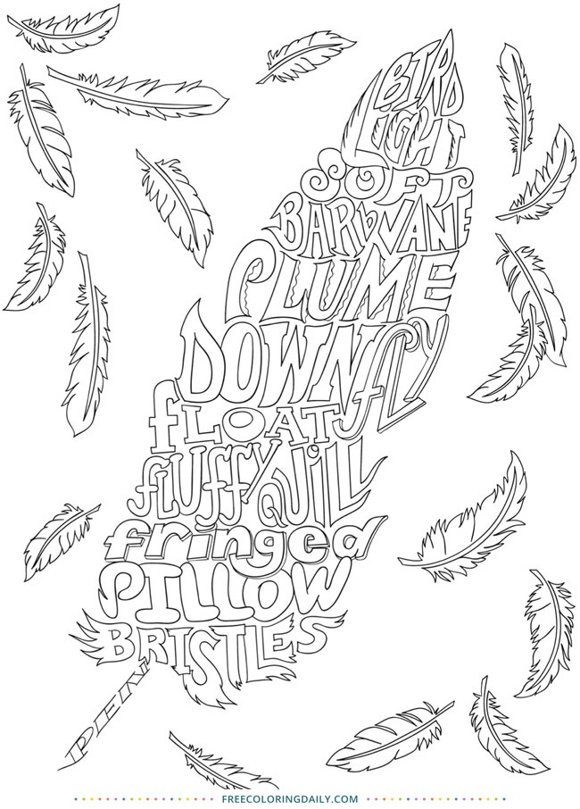 Free Feather Word Coloring