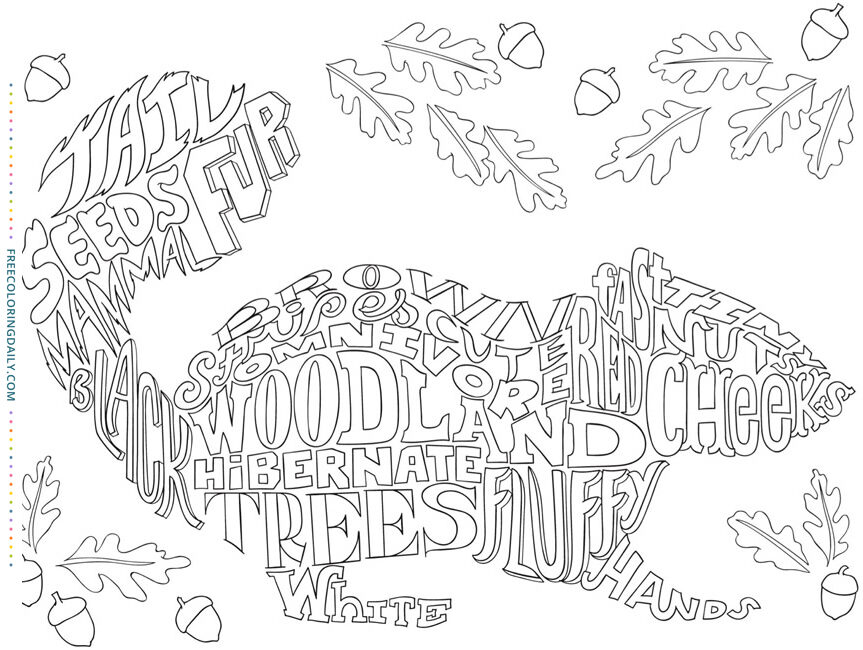 Free Squirrel Word Coloring