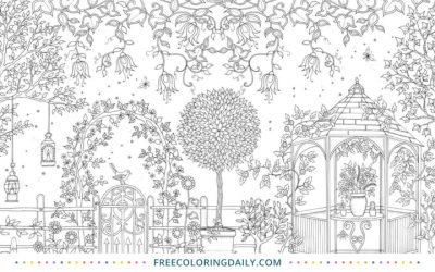 Free Pretty Garden Coloring