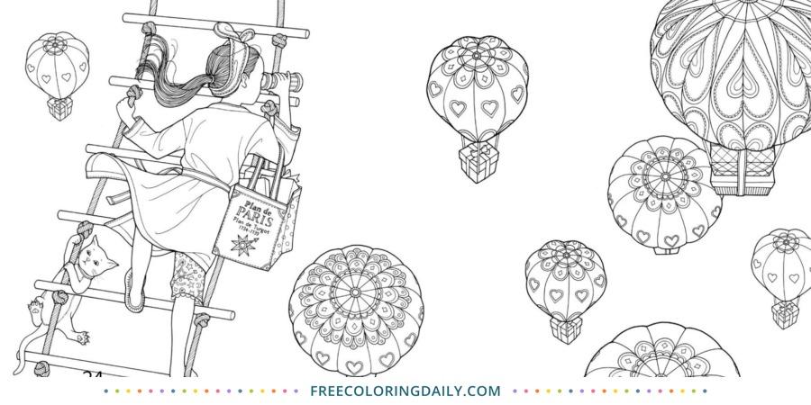 Free Hot Air Balloon Coloring