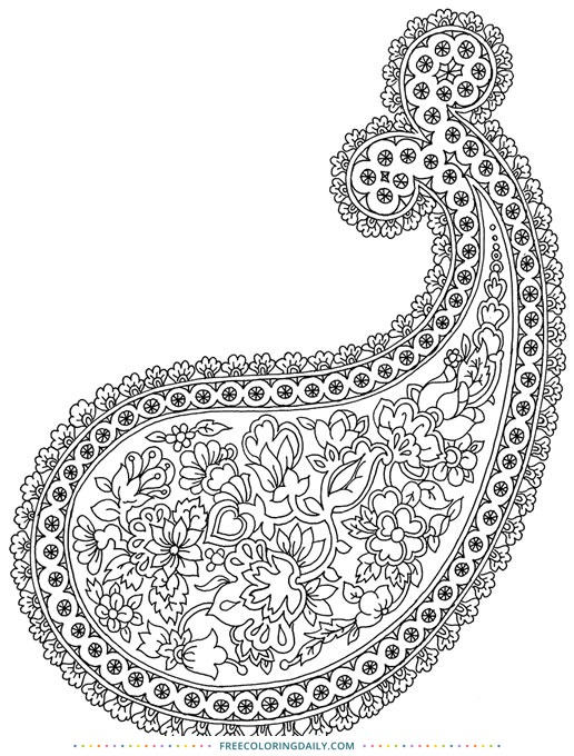 Free Paisley Coloring Page