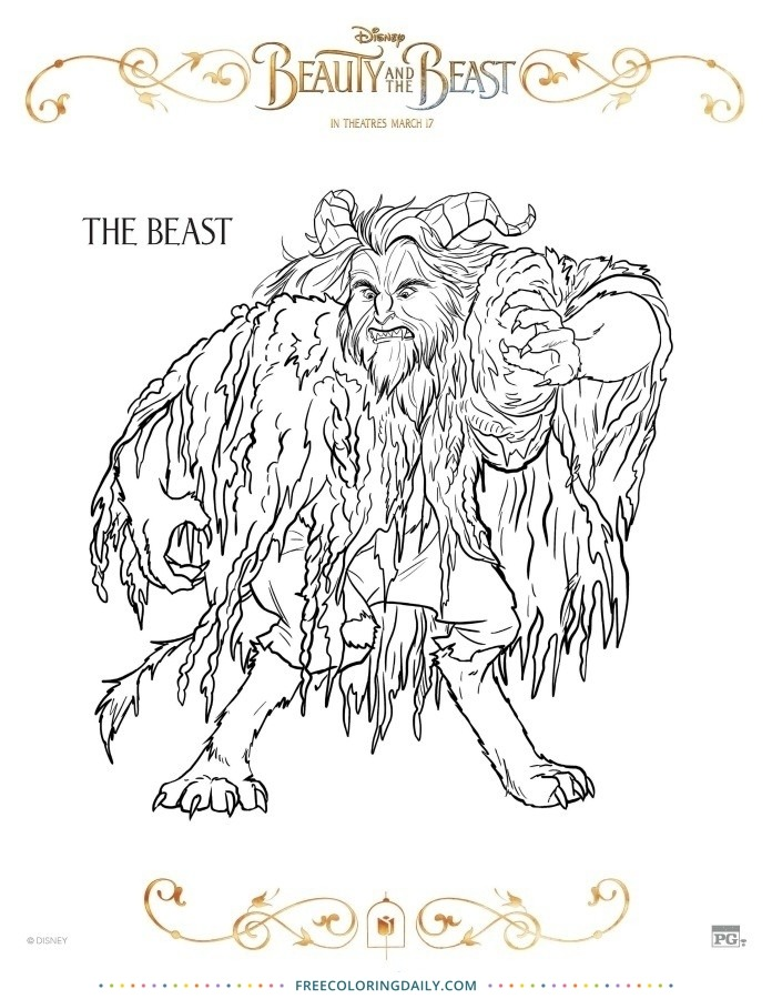 Free Beauty & the Beast Coloring