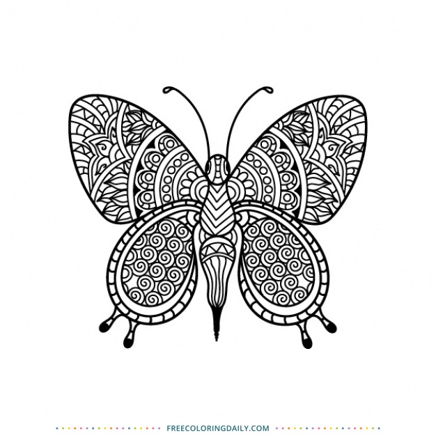 Free Patterned Butterfly Coloring