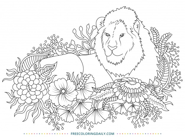 Free Lion with Flowers Coloring