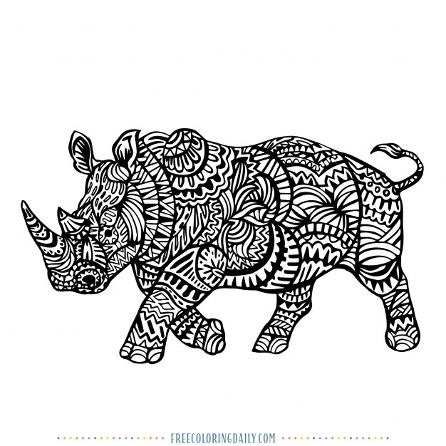 Free Rhino Coloring Page