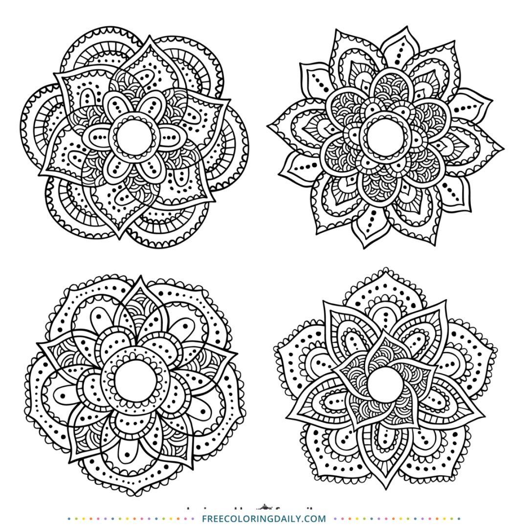 Free Floral Patterned Coloring Page