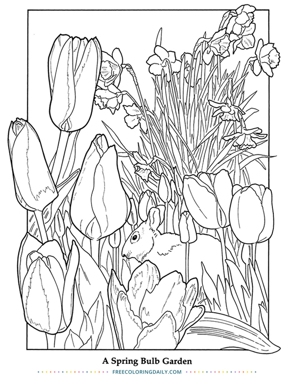 Free Bunny and Tulip Coloring