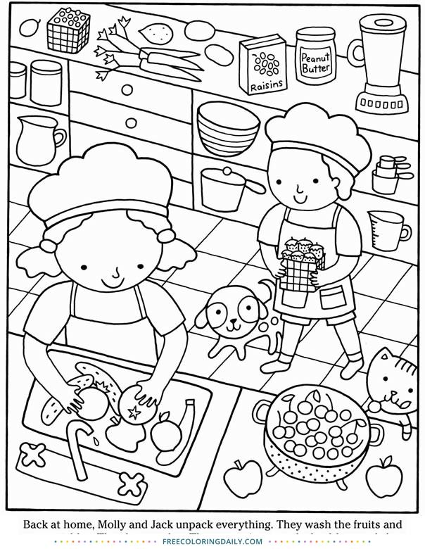 Free Kids Baking Coloring