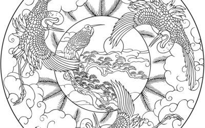 Free Circle of Birds Coloring