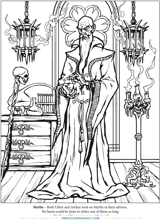 Free Wizard Coloring Page