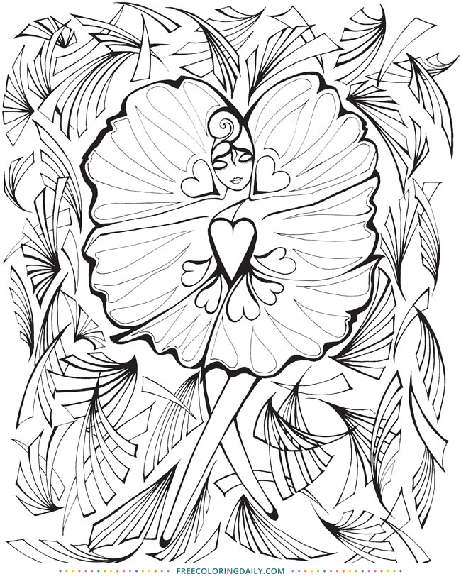 Heart Flower Fairy Free Coloring