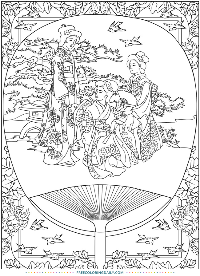 Free Lovely Asian Coloring Page
