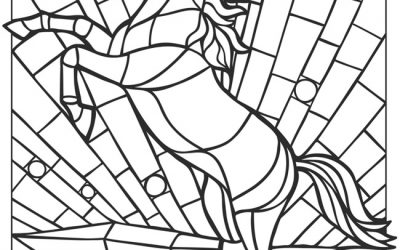 Free Stained Glass Horse Coloring