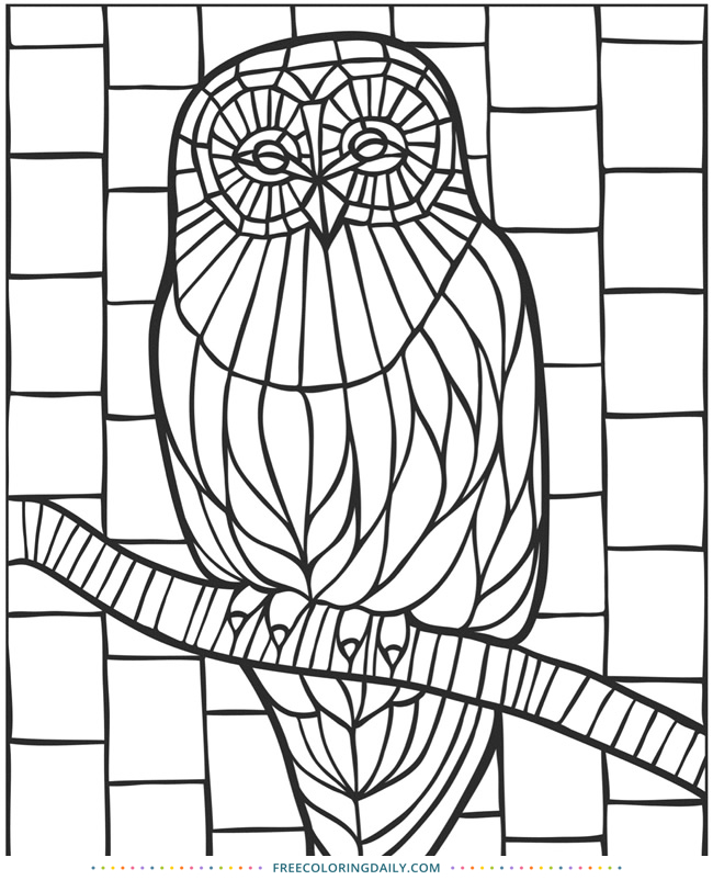 Free Coloring – Stained Glass Owl