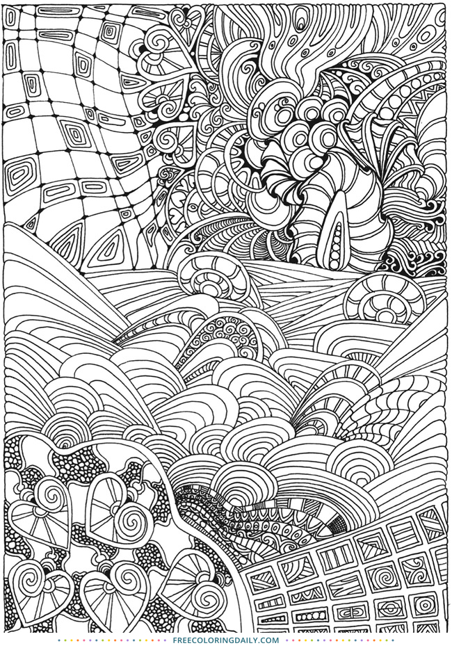 Free Zentangle Coloring Page