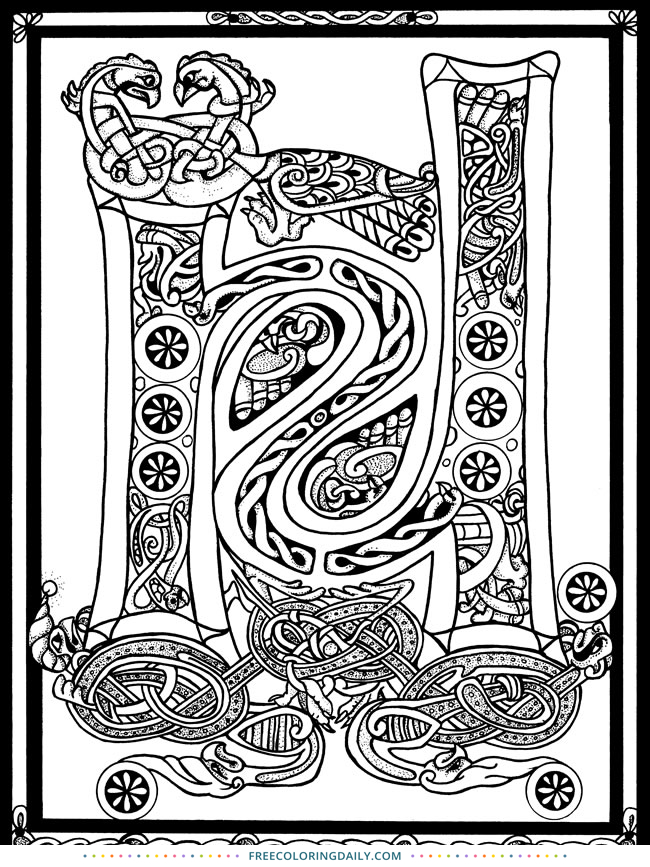 Free Celtic Letter Coloring