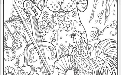 Dog with Rooster & Violin Free Coloring