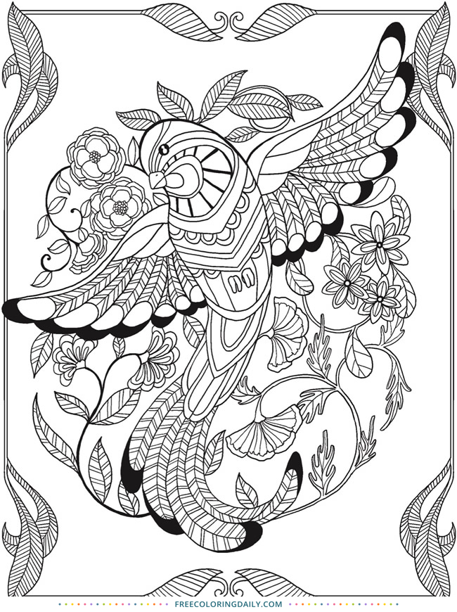 Free Stunning Tropical Bird Printable Coloring