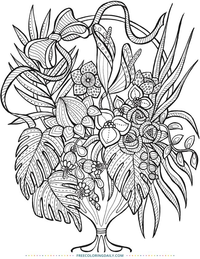 Free Coloring Floral Arrangement