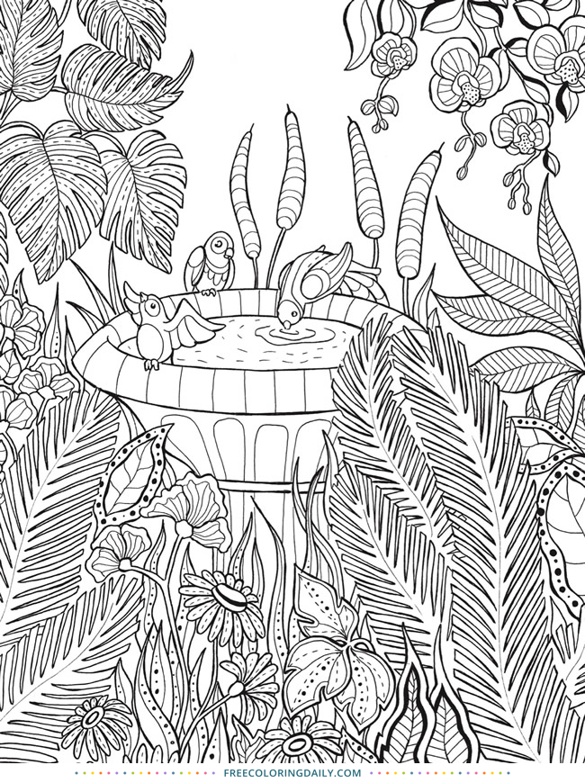 Tropical Birdbath Free Coloring Page
