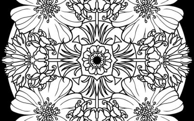 Free Coloring Kaleidoscope Floral