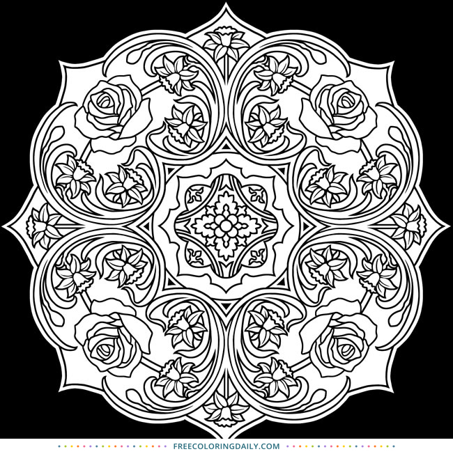 Free Printable Scroll Mandala