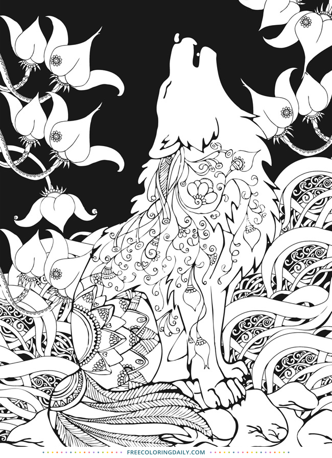Free Wolf Coloring Page