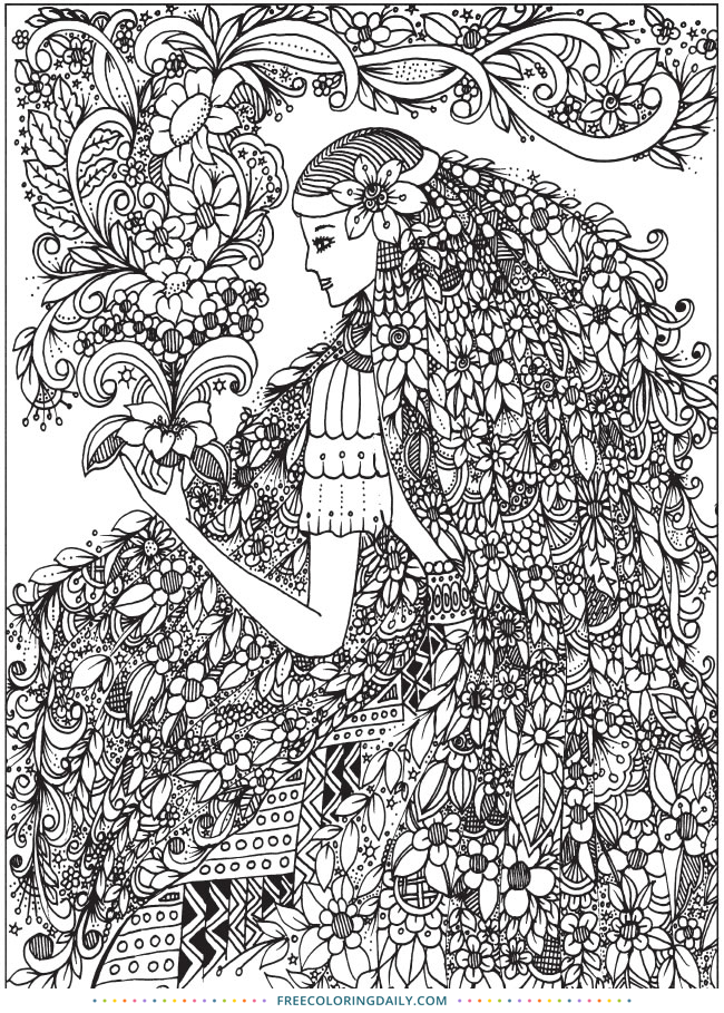 Free Flower Girl Amazing Coloring Sheet