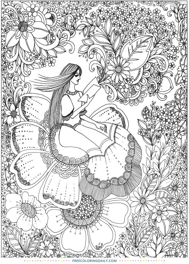 Lovely Flower Girl Free Coloring Printable