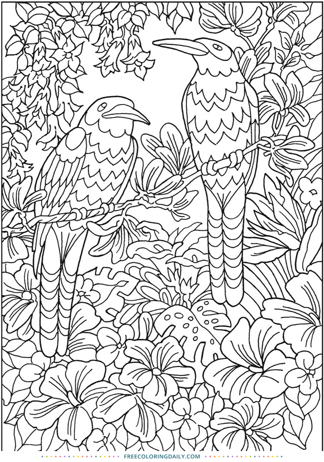 Tropical Birds Free Coloring Page