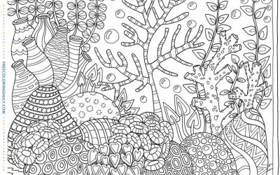 Free Foliage in Patterned Pots Coloring