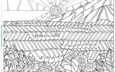 Free Sun & Waves Beach Coloring