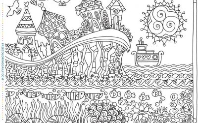 Free Patterned Coastal Village Coloring
