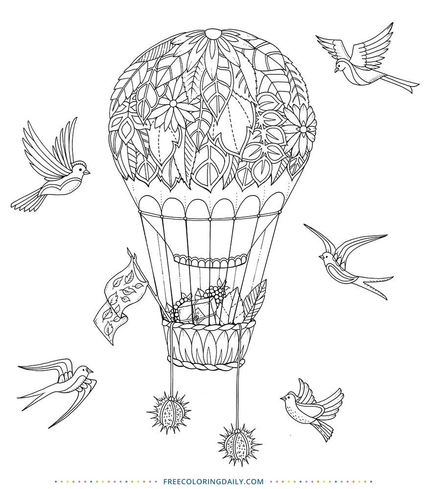 Free Hot Air Balloon Coloring Page