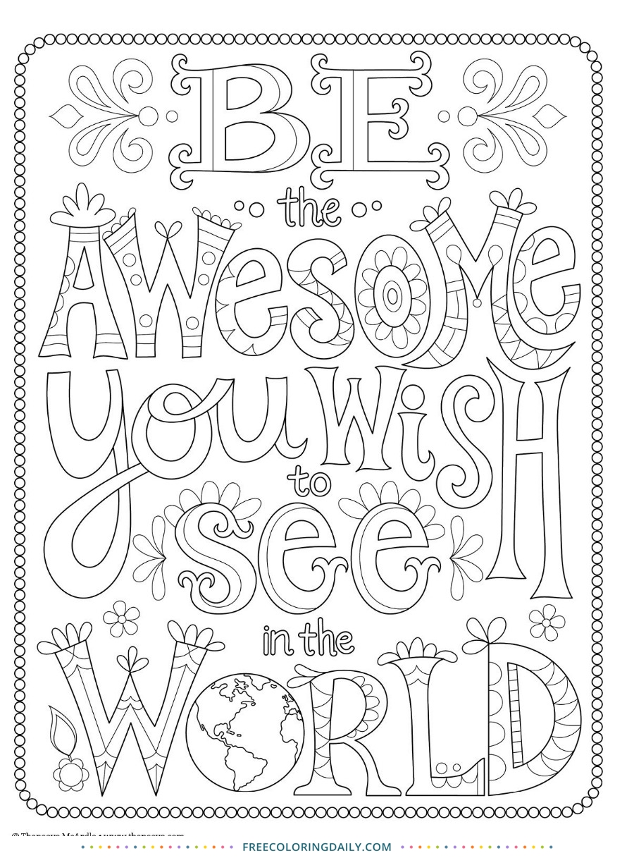 Be the Awesome Free Coloring Sheet