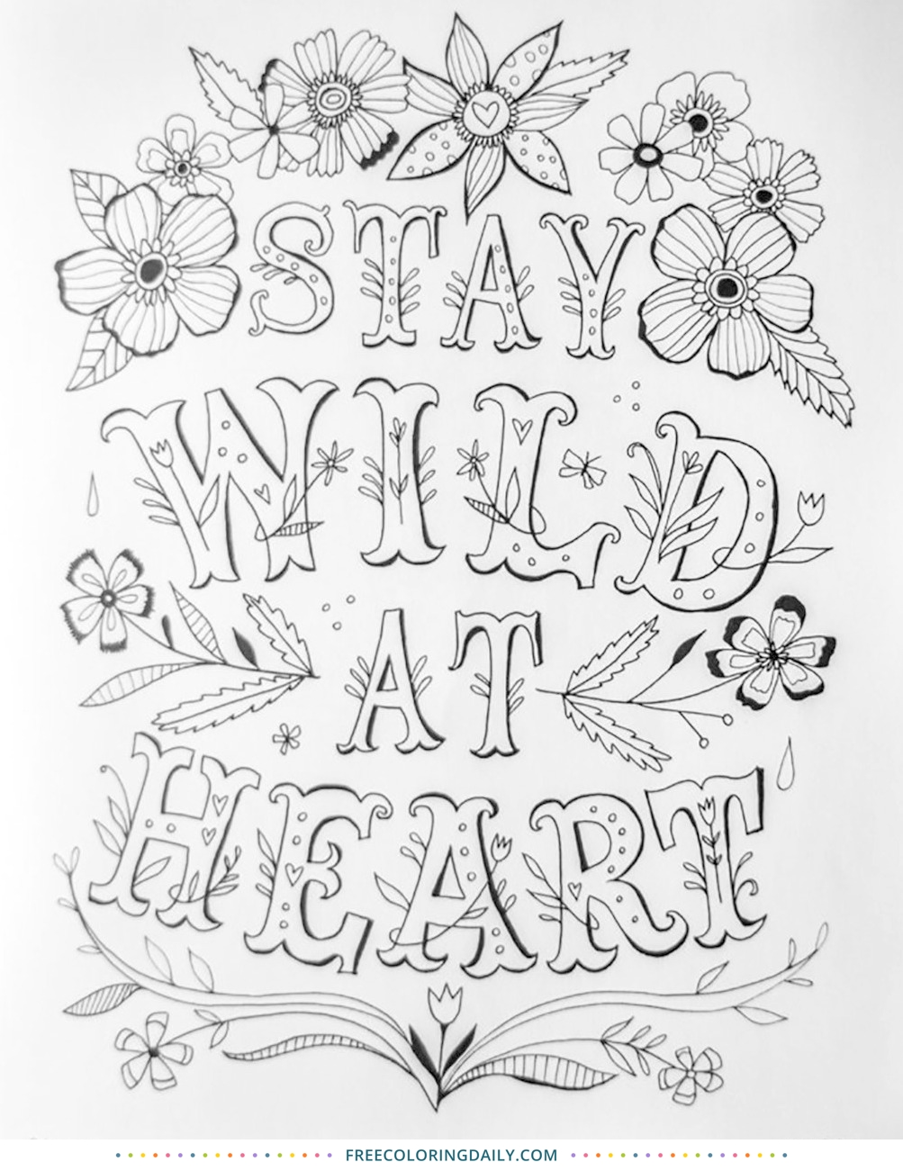 Free Wild at Heart Coloring Sheet